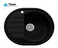 Мойка кухонная гранитная Tessa Paula Maxi black 18002