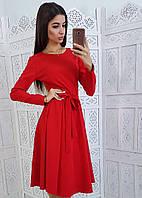 Красное платье миди приталенное поясом