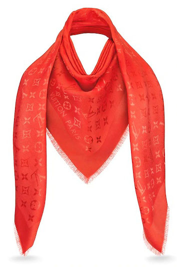 Женский платок Louis Vuitton Monogram (в стиле Луи Витон) красный