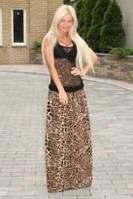 Юбка макси шифоновая леопард
