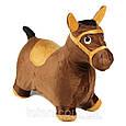 Надувная яркая (ослик) плюшевая лошадка  прыгун в тканевом чехле MS 0325. Нагрузка до 50 кг, фото 2