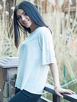 Белая блуза с ажуром 48