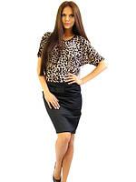 Атласная черная женская юбка