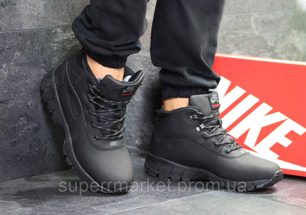 Кроссовки Nike Lunarridge черные  зима , код6529