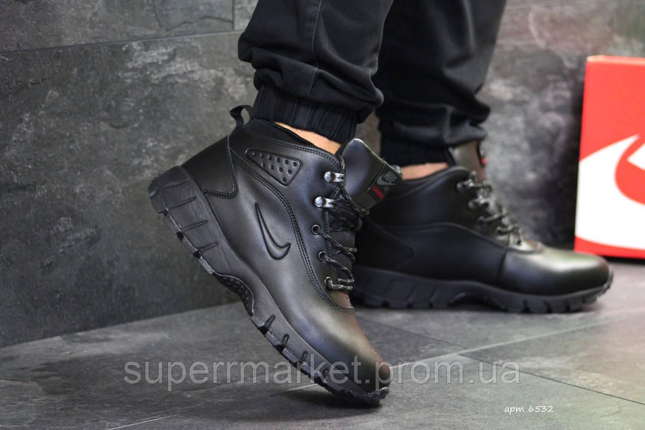 Кроссовки Nike Lunarridge черные  зима , код6532