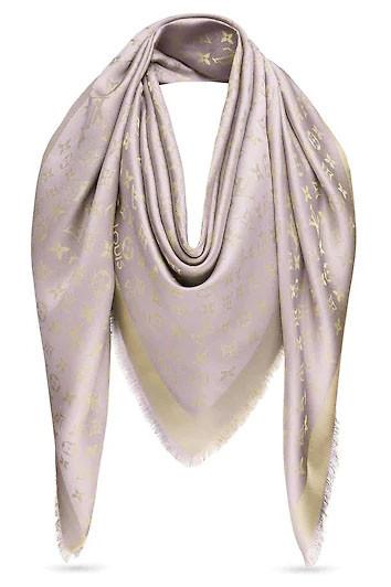 Женский платок с люрексом Louis Vuitton Shine Monogram (в стиле Луи Витон) бежевый