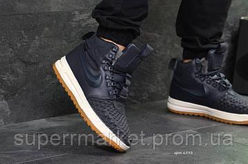 Кроссовки Nike Lunar Force 1 Duckboot темно-синие (зима). Код 6593, фото 2