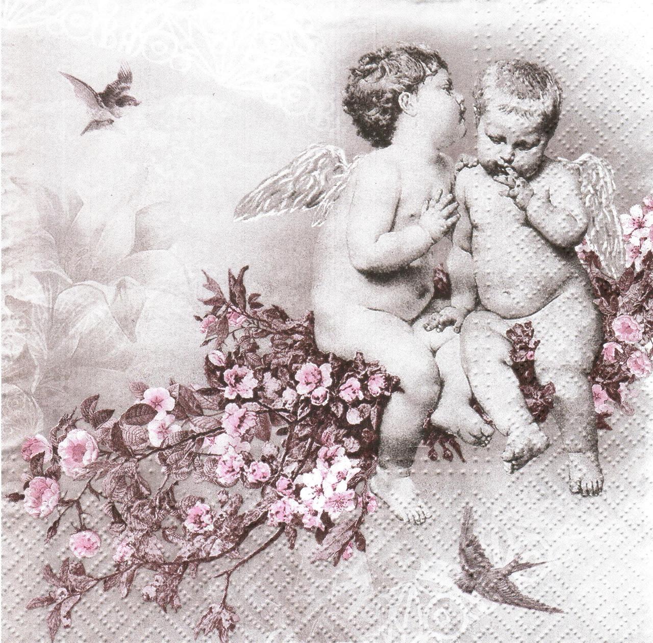 Декупажная салфетка Винтажные ангелочки на цветущей ветке 4303