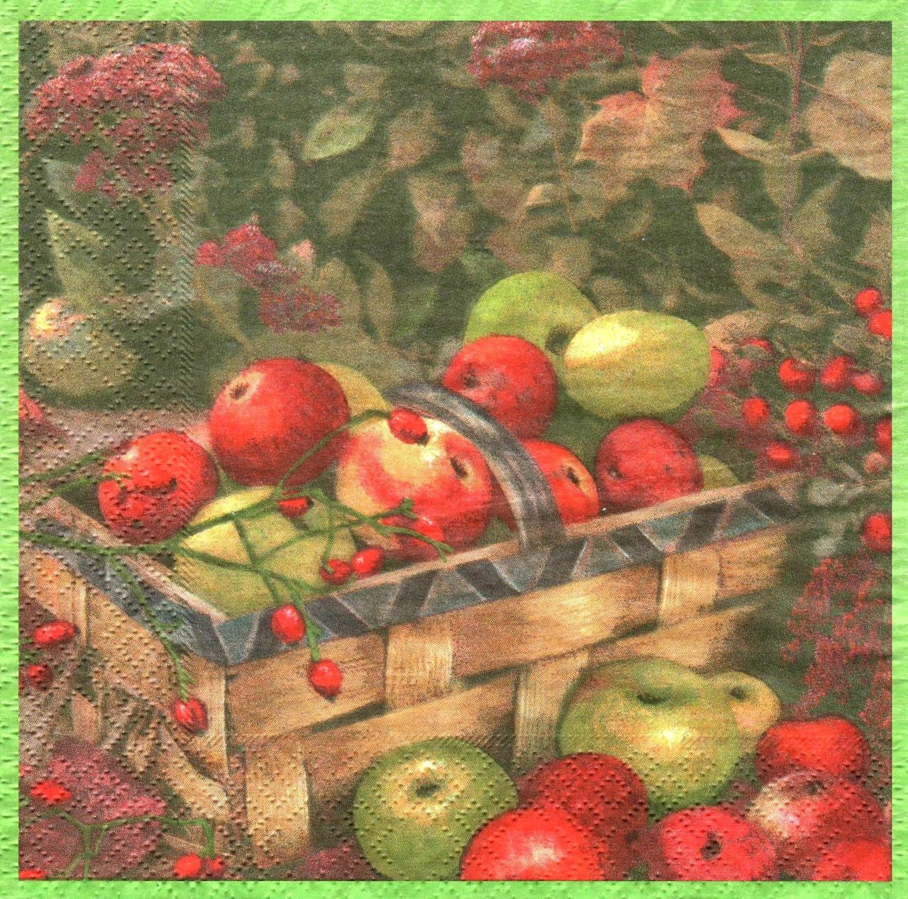Декупажная салфетка Корзинка с яблоками 4307