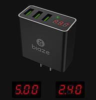 Сетевое зарядное устройство BIAZE 3 порта USB 2.4 А 5V с индикацией для смартфона Black черный