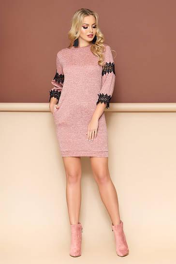 Женское трикотажное платье с кружевом, размеры от 44 до 50, цвет пудра 58f17da5037