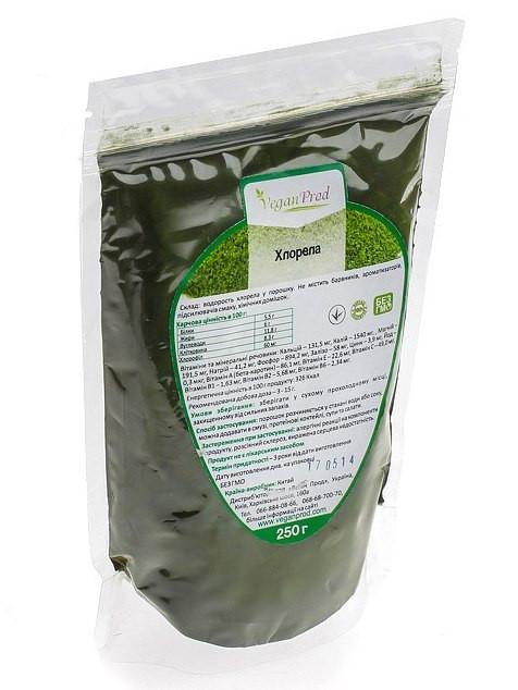 Хлорелла в порошке, водоросль для питания, диетическая добавка суперфуд, 100г, дой-пак, тм Veganprod