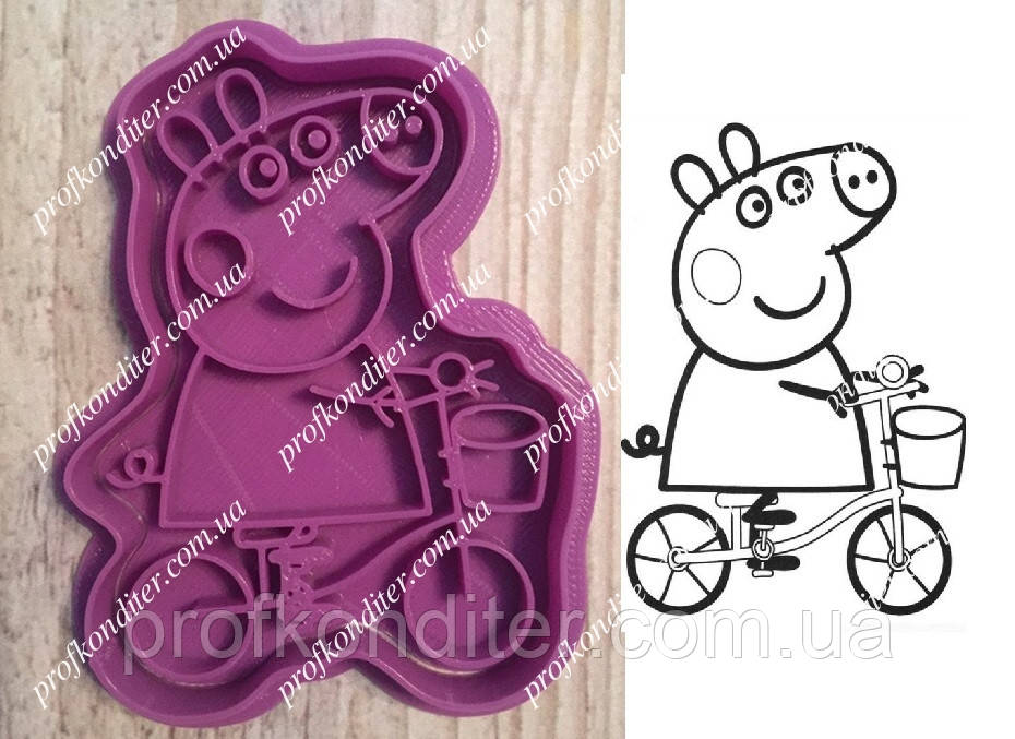 """Пластикова вирубка з відбитком """"Свинка пеппа на велосипеді"""" 8см"""