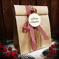 """Бирка 12 шт """"Merry Christmas""""  молочная"""