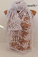 Свадебный церковный ажурный шарф с камнями (белый)