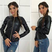 Демисезонная модная куртка-пиджак из экокожи, размеры 42, 44, 46, 48. Разные цвета. , фото 1