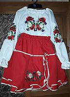 Вишиванка вишитий костюм Маки гладь 10-11 років спідничка+блузка машинна  вишивка 2d53ab9842fba