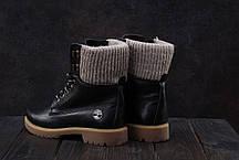 Зимние женские ботинки Timberland Best Vak с вязаными вставками черные топ реплика, фото 3