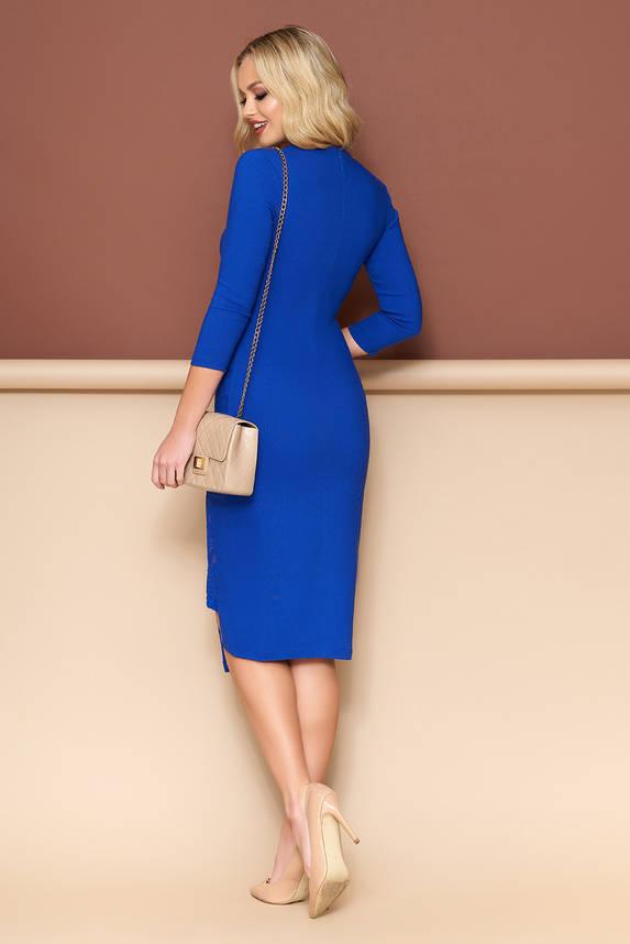 Элегантное платье футляр с гипюром электрик, фото 2