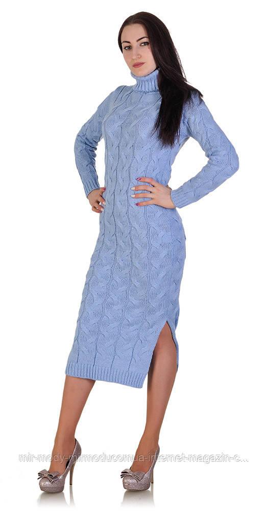Длинное платье под горло голубое с 44 - 46 размер универсальный (вст)