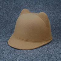 Фетровая кепка, шапка с ушками, шерстяная кепи, жокейка