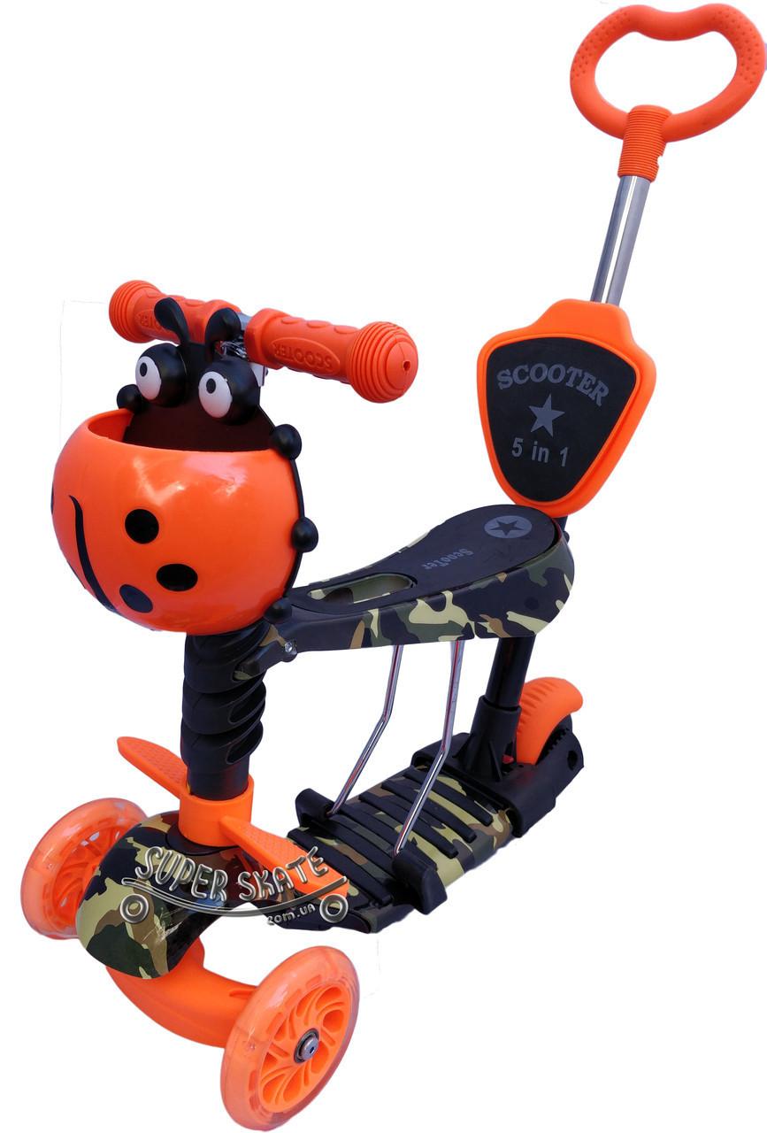 Детский самокат Scooter 5 в 1, самокат беговел с сиденьем и родительской ручкой - Orange-Camo