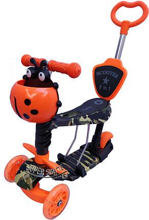 Детский самокат Scooter 5 в 1, самокат беговел с сиденьем и родительской ручкой - Orange-Camo, фото 2