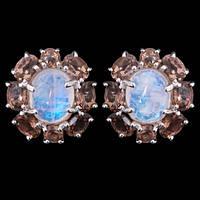 Серьги серебряные 925 натуральный голубой лунный камень, смоки кварц.
