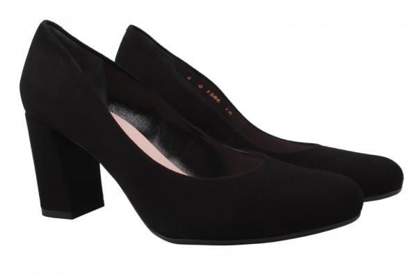 Туфли женские на каблуке из натуральной замши, черные Bravo Moda Польша