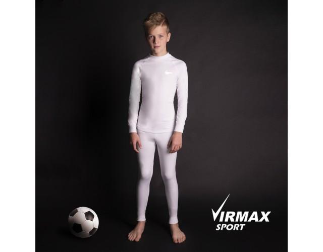 Термобелье детское спортивное Virmax Sport белое, детский комплект термобелья унисекс (шапка в подарок!)