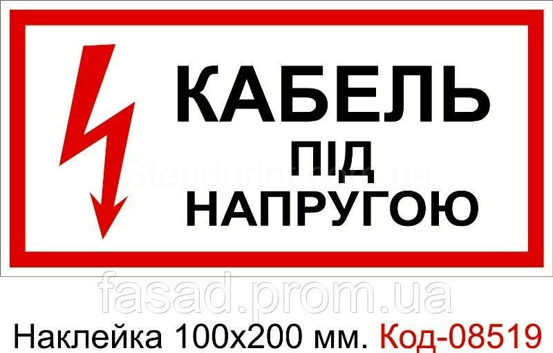 Наклейка 100*200 мм. Кабель під напругою Код-08519