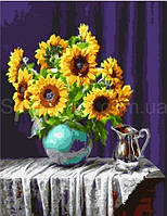 Картина за номерами Соняшники у вазі 40*50 см. Код-08649