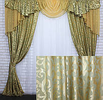 Комплект ламбрекен (№50) с шторами на карниз 3м. 050лш296