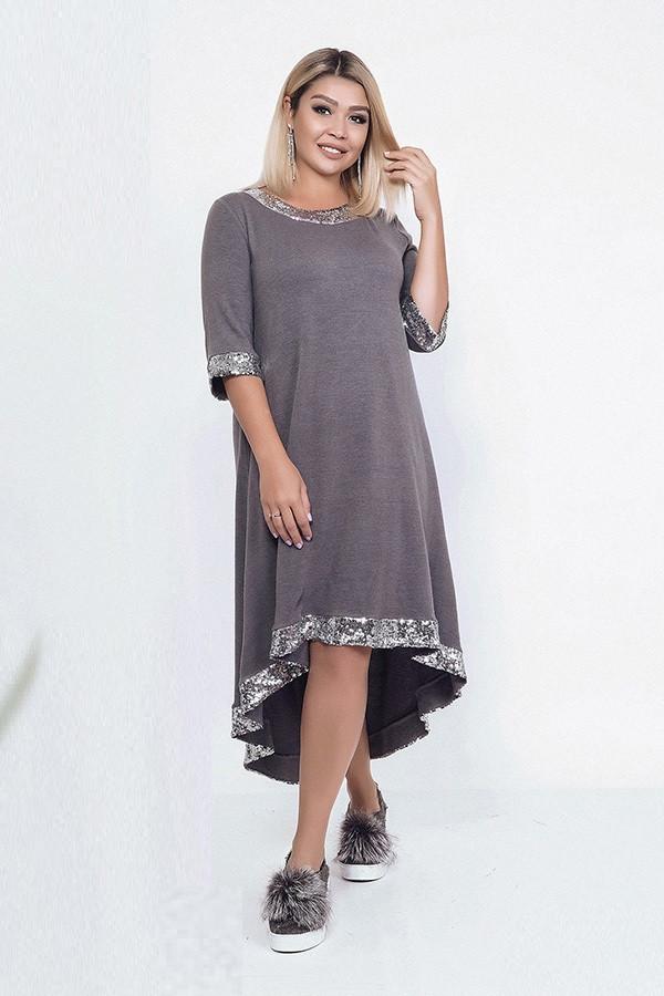 Красивое женское теплое платье 39812 (48–58р) в расцветках