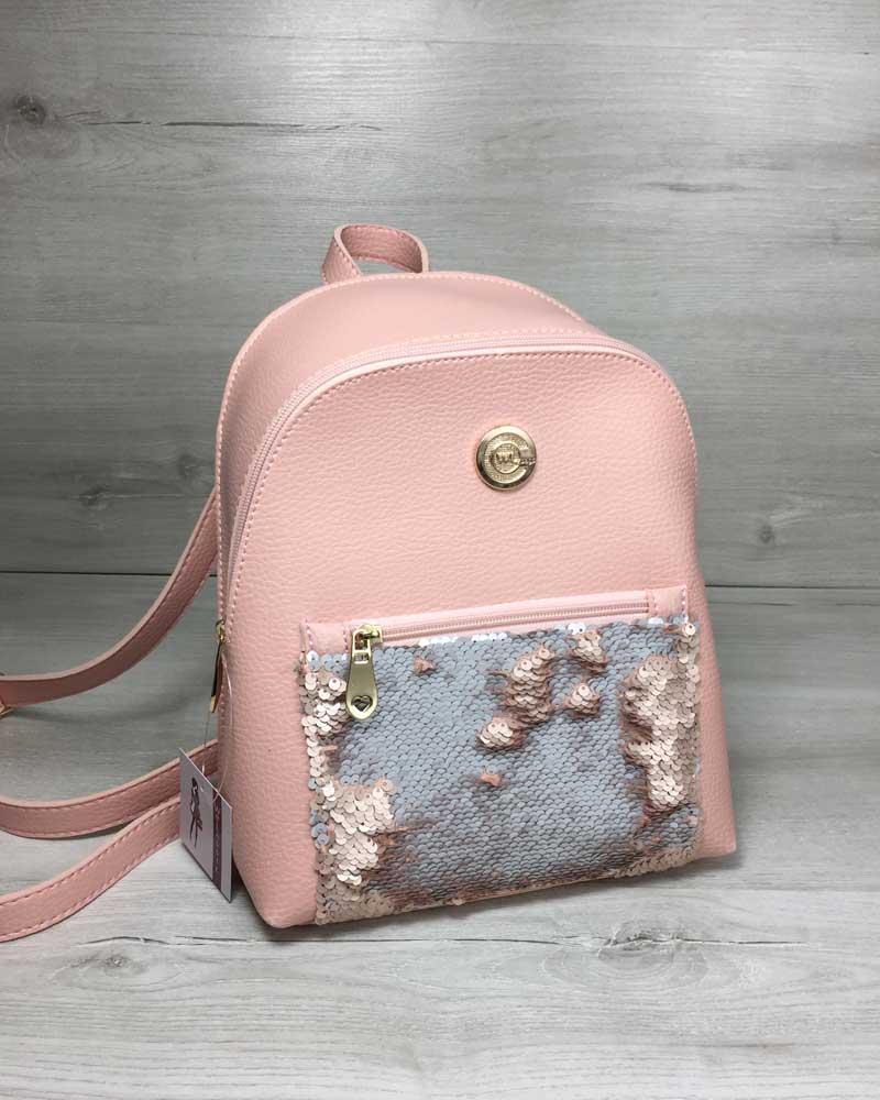 dafaf4977321 Розовый рюкзак 44410 маленький пудровый городской с пайетками - Интернет  магазин сумок SUMKOFF - женские и