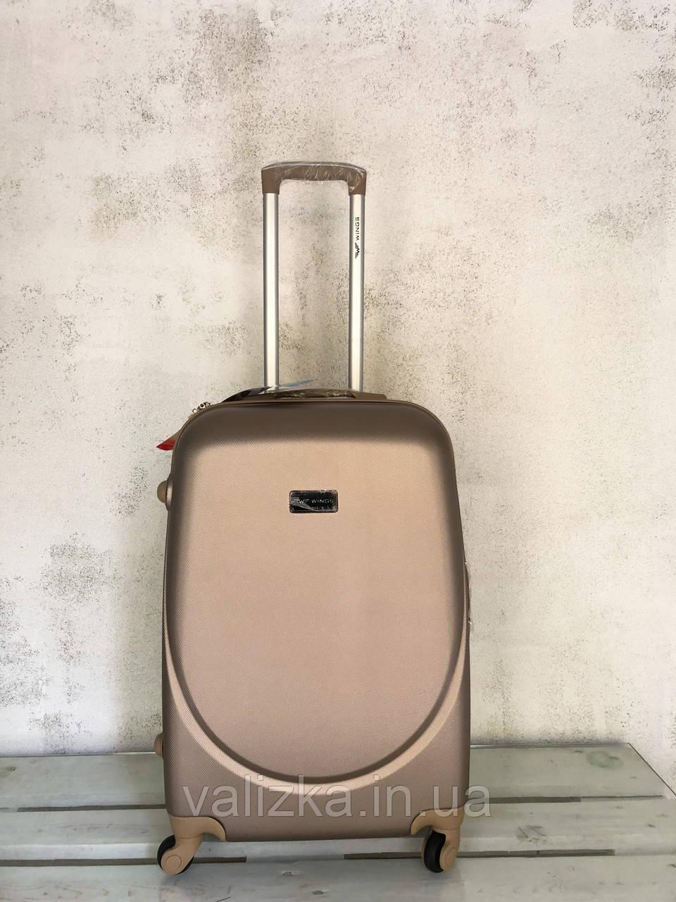 Пластиковый чемодан на 4-х колесах качественный шампань чемодан / Пластикова валіза золота