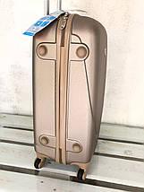 Пластиковый чемодан на 4-х колесах качественный шампань чемодан / Пластикова валіза золота , фото 3