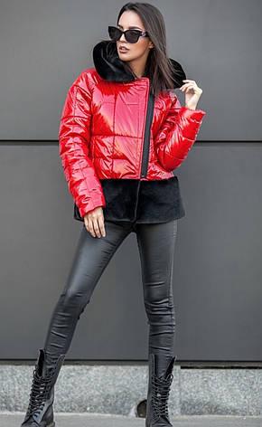 Куртка лаке с меховыми карманами, фото 2
