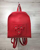 Красный рюкзак 44302 маленький с цветами, фото 1