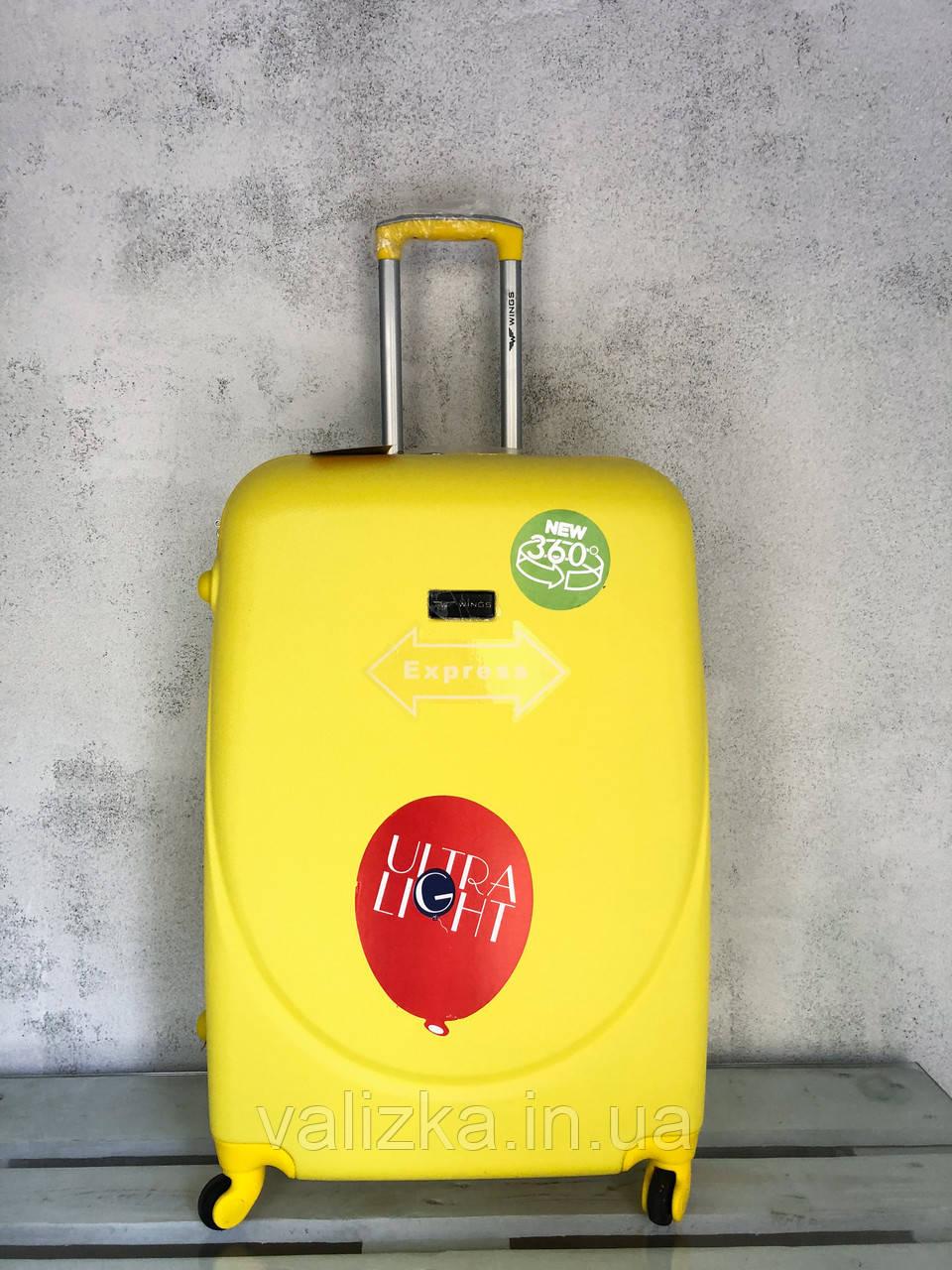 WINGS / Качество! Пластиковый чемодан на 4-х колесах большой чемодан / Велика пластикова валіза на колесах