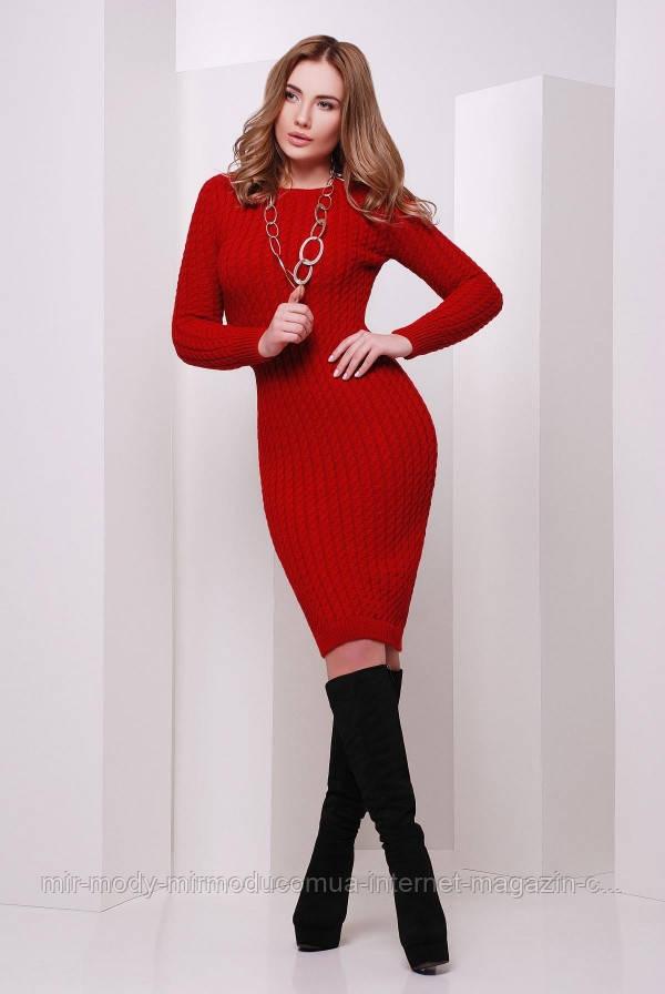 Вязаное платье 135 красный с 44 - 46 размер универсальный (вст)