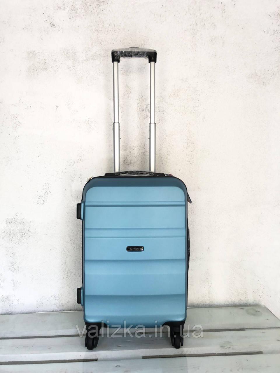 Чемодан из поликарбоната ручная кладь S+, чемодан голубой Польша / Валіза з полікарбонату ручна поклажка