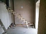 Поворотный каркас лестницы на ломаных косоурах с забежными ступенями, фото 4