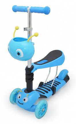Самокат для самых маленьких Самокат Беговел с сиденьем Scooter - 3 в 1 - Синий, фото 2