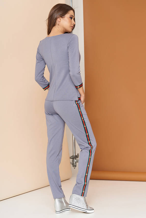 Женский спортивный костюм трикотажный серый 44-54р, фото 2
