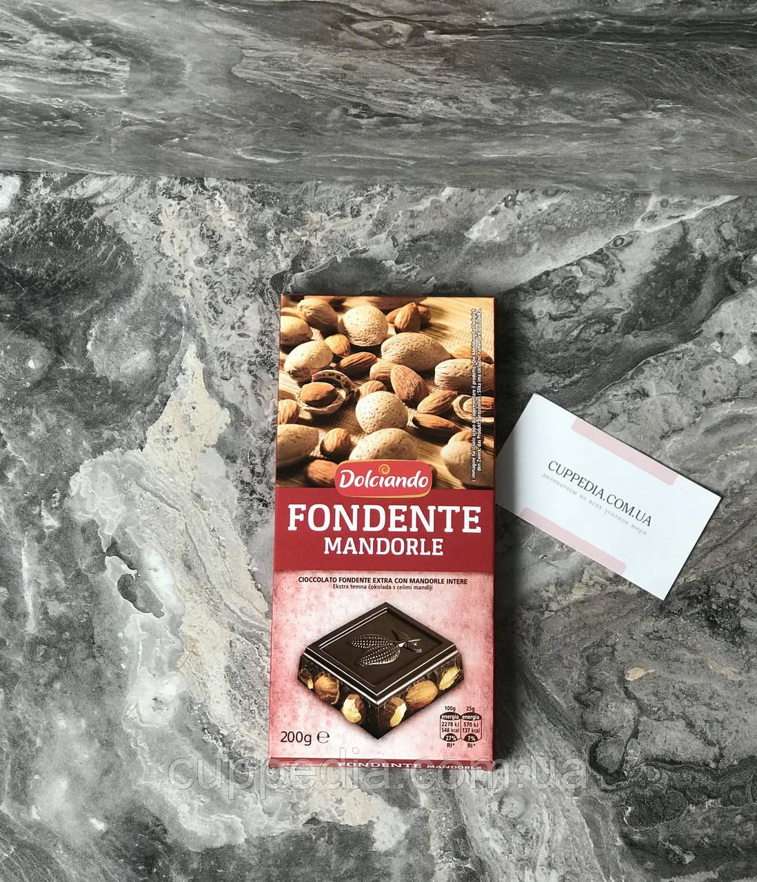 Чорний шоколад Dolciando з цільним мигдалем 200 грм