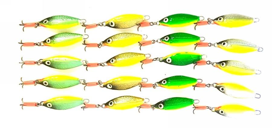 Блесна для зимней рыбалки Милдас рыбка с подвесным тройником 8г, 20шт