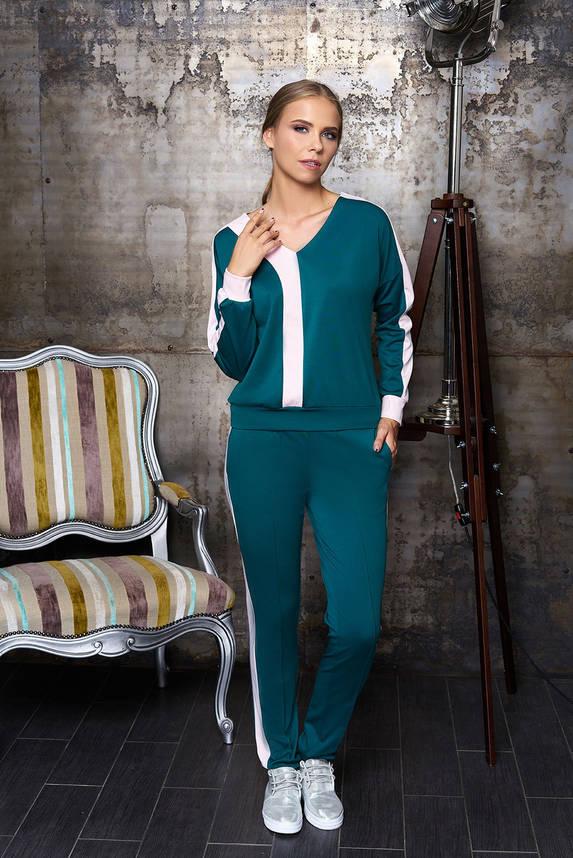 Женский спортивный костюм прогулочный зеленый 44-54р, фото 2