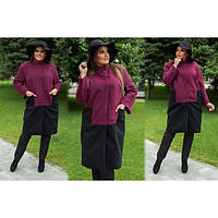 Пальто женское кашемировое двухцветное ММ-254 бордовый