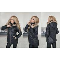 Куртка женская с капюшоном украшена мехом ММ-149 черный